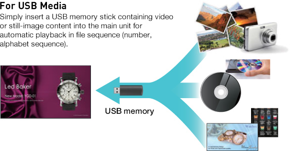 For USB Media, Simply insert a USB memory stick containing video or still-image content into the main unit for automatic playback in file sequence (number, alphabet sequence).