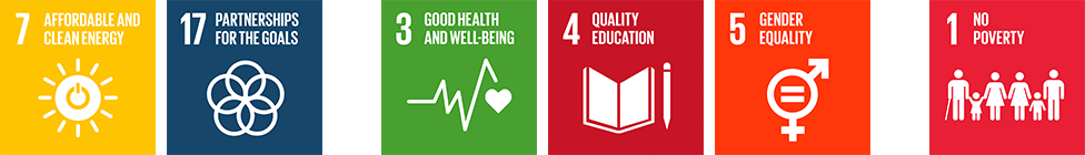 SDGs7: AFFORDABLE AND CLEAN ENERGY/SDGs17: PARTNERSHIPS FOR THE GOALS→SDGs3: GOOD HEALTH AND WELL-BEING/SDGs4: QUALITY EDUCATION/SDGs5: GENDER EQUALITY→SDGs1: NO POVERTY